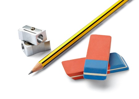 pencil sharpener: close up of  pencil, eraser and sharpener on white background with clipping path Stock Photo