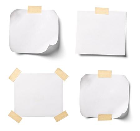 ?tapes: collection de divers documents de notes blanches sur fond blanc. chacun d'eux est abattu s�par�ment