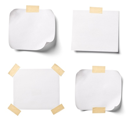 post cards: collection of  various white note papers on white background. each one is shot separately