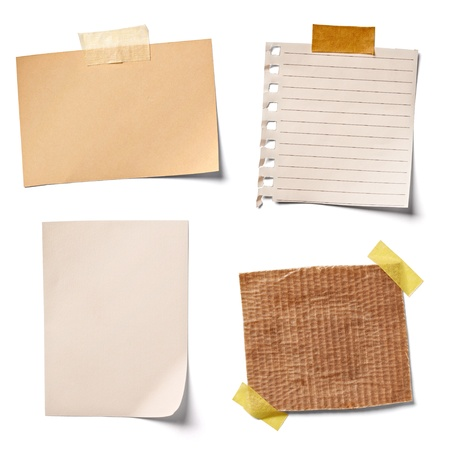 old notebook: collection of  various vintage note papers on white background.
