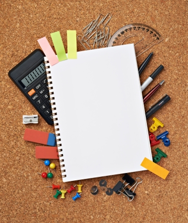 exercise book: close up of various school items Stock Photo
