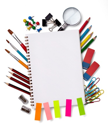 office notes: close up of various school items Stock Photo