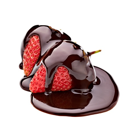 dipped: close up of  strawberry and chocolate syrup dessert on white background