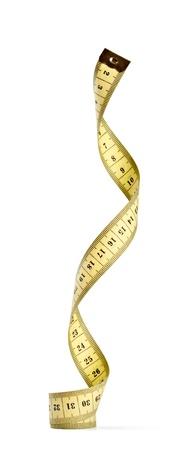 volute: Close up di un nastro di misurazione sarto su sfondo bianco