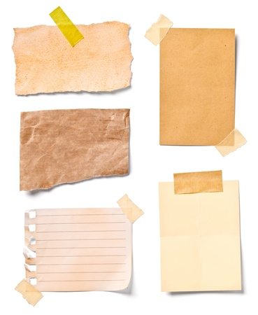 post it note: collection of  various vintage note papers on white background. each one is shot separately
