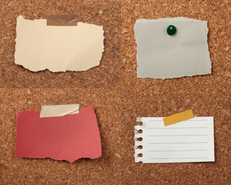 cork board: collection of various note papers  on cork board