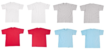 collection of  various t shirts on white background  each one is shot separately photo