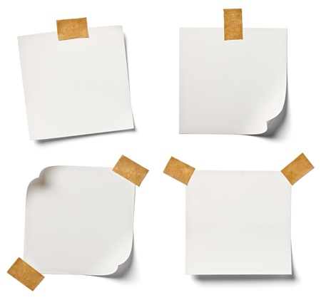 note book: collection of  various white note papers on white background  each one is shot separately Stock Photo