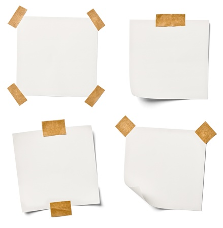 paper note: collection of  various white note papers on white background  each one is shot separately Stock Photo