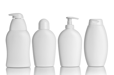 collection of  various beauty hygiene containers on white background. each one is shot separately photo