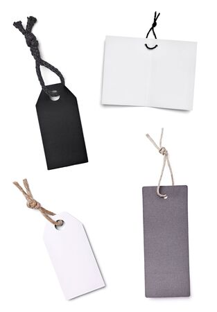 price tags: collection of blank price labels on white background. each one is shot separately Stock Photo