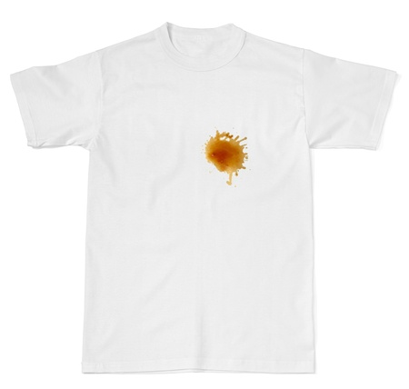 coffee stain on white t shirt