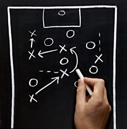 team strategy: close up of a soccer tactics drawing on chalkboard