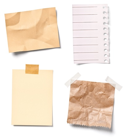 collection of  various vintage note papers on white background. each one is shot separately photo