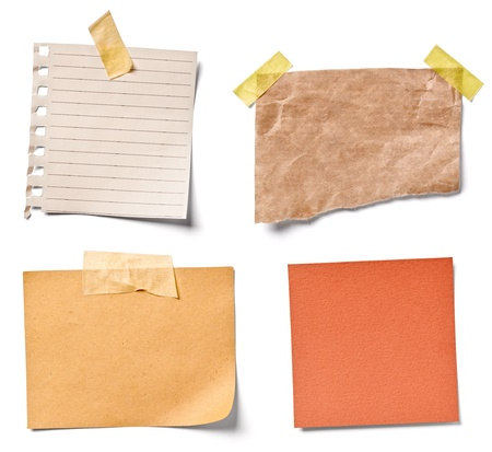 it is isolated: collection of  various vintage note papers on white background. each one is shot separately