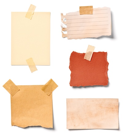 noticeboard: collection of  various vintage note papers on white background. each one is shot separately