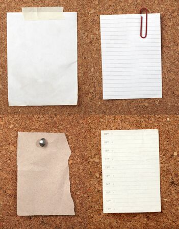 drawing pin: collection of various note papers  on cork board