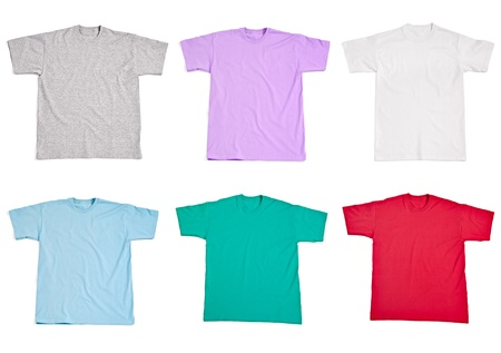 collection of  various t shirts on white background  each one is shot separately Stock Photo - 15067541
