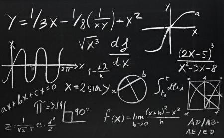 matematica: Close up de f�rmulas matem�ticas en una pizarra