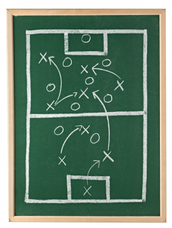 tactic: close up of a soccer tactics drawing on chalkboard