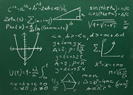 signos matematicos: Close up de fórmulas matemáticas en una pizarra