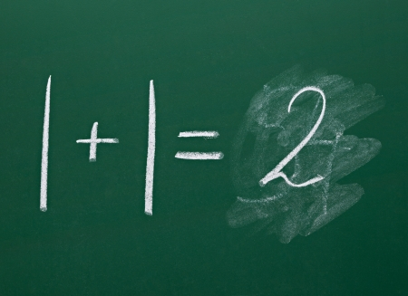 equals: math simple equation on chalk board Stock Photo
