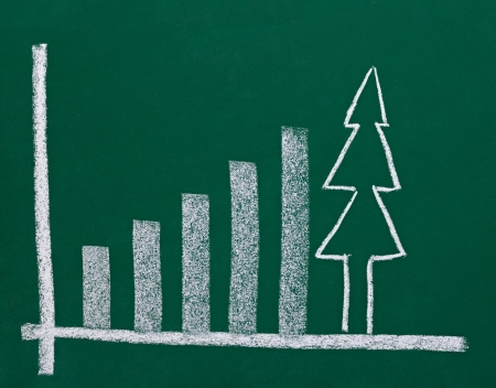 year increase: close up of chalkboard with finance business graph and christmas tree