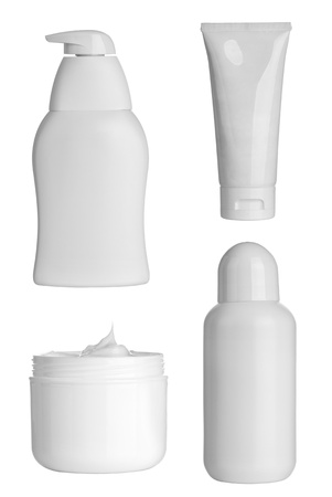 shampoo bottles: collection of  various beauty hygiene containers on white background. each one is shot separately