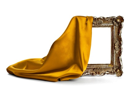 art gallery: close up of  a wooden frame coverd with silk on white background