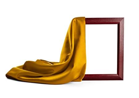 tela seda: cerca de un marco de madera con porches seda sobre fondo blanco Foto de archivo