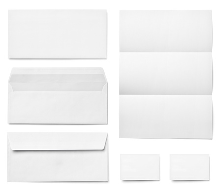 collection of various  blank white paper on white background. each one is shot separately Stock Photo - 15303103