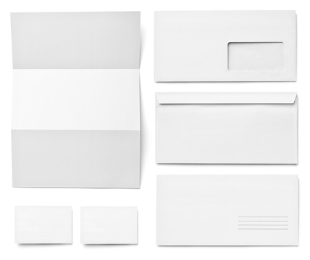 letter head: collection of various  blank white paper on white background. each one is shot separately Stock Photo
