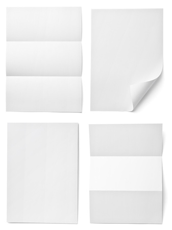 paper: collection of various  blank white paper on white background. each one is shot separately Stock Photo
