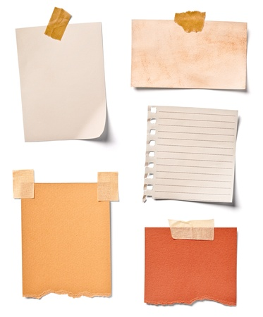 it is isolated: collection of  various vintage note papers on white background  each one is shot separately Stock Photo
