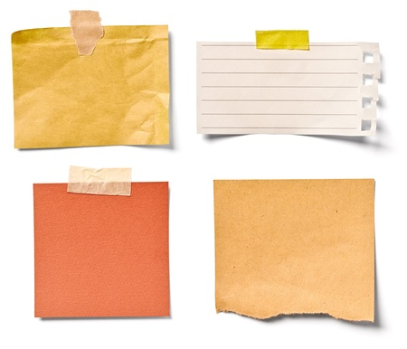 note card: collection of  various vintage note papers on white background  each one is shot separately Stock Photo