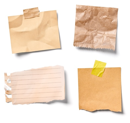 adhesive note: collection of  various vintage note papers on white background  each one is shot separately Stock Photo