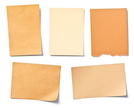 note remember: collection of  various vintage note papers on white background  each one is shot separately Stock Photo