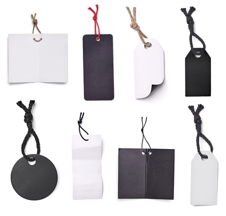collection of blank price labels on white background  each one is shot separately photo