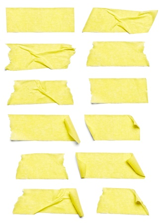 tear duct: collection of  various adhesive tape pieces on  white background  each one is shot separately