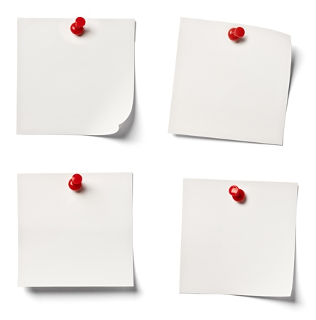 drawing pins: collection of  various white note papers on white background  each one is shot separately Stock Photo