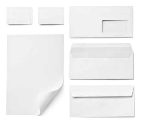collection of various  blank white paper on white background. each one is shot separately Stock Photo - 15430920