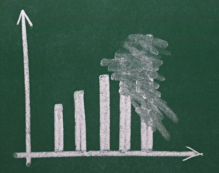 growth chart: close up of chalkboard with finance business graph  Stock Photo