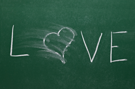 smudge erased heart on chalkboard  photo