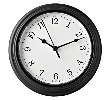 ticking: close up of an office clock on white background