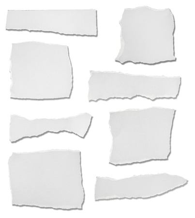 torn paper edge: collection of  white ripped pieces of paper on white background. each one is shot separately Stock Photo