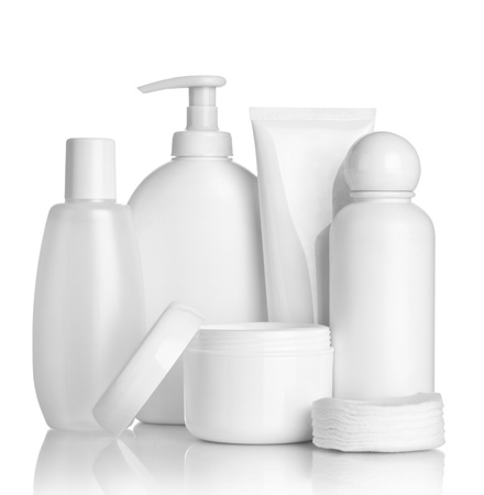toiletries: close up of  beauty hygiene container on white background