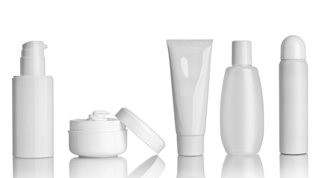 bath cream: collection of  various beauty hygiene containers on white background  each one is shot separately