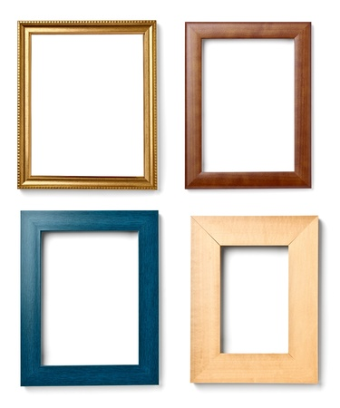 photo edges: collection of various wooden frames for painting or picture on white background  each one is shot separately Stock Photo