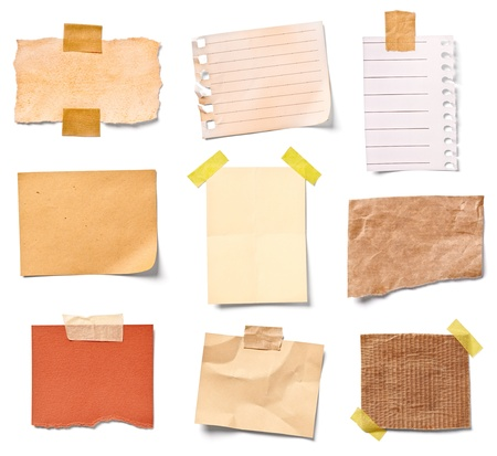 post it: collection of  various vintage note papers on white background  each one is shot separately Stock Photo