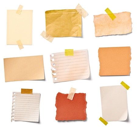 post it note: collection of  various vintage note papers on white background  each one is shot separately Stock Photo